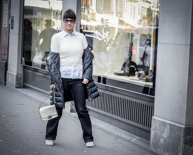 Grunnylook: Bluse von Eterna, Pullover von Guess, Jeans von Crossjeans, Daunenmantel von Tommy Hilfiger